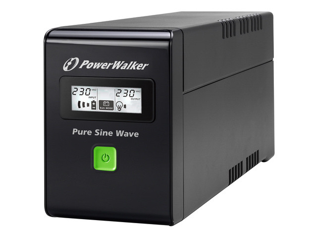 UPS POWER WALKER LINE-INTERACTIVE 600VA 2X SCHUKO 230V, PURE SINE WAVE, RJ11/45 IN/OUT, USB, LCD