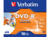 DVD-R VERBATIM 4.7GB X16 PRINTABLE (10-PACK JEWEL CASE) (DAMAGED PACKAKING)