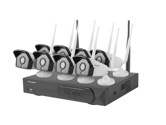 SURVEILLANCE KIT NVR WIFI 8 CHANNELS + 8 CAMERAS 1,3MP WITH ACCESSORIES LANBERG